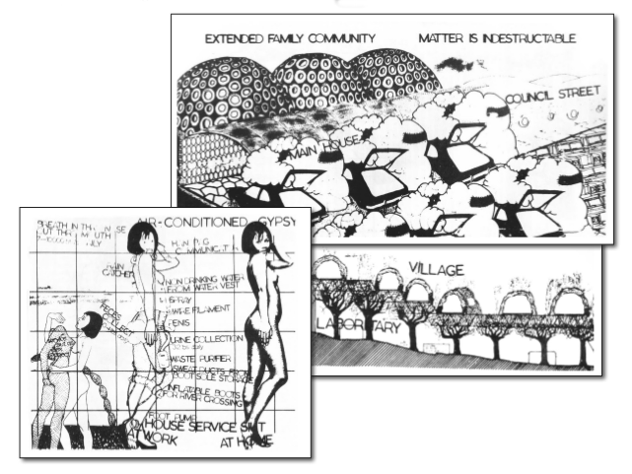 Illustrations for: Car Dump Commune, Tree Village and Women's Commune Will Alsop A Book of Visions 1975